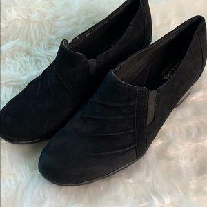 Clark's Bendables Black Suede Slip on Heel Booties